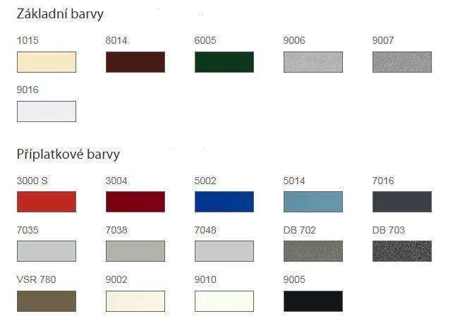 základní barvy s příplatkovými pro žaluzie venkovní