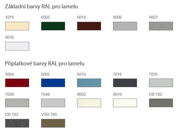 základní a připlatkové barvy RAL pro předokenní žaluzie