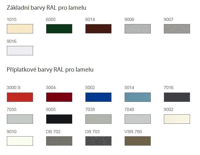 základní a příplatkové barvy RAL pro Externí žaluzie