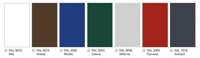 typy barev pro sekční průmyslová garážová vrata